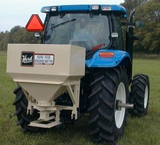 Model KA1200C-3PT Herd three point hitch (category 2) mount, pto powered (540 rpm standard, 1000 rpm optional), 16 bushel capacity hopper (approximately 1200 lbs. depending upon the material)