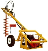 Model EA93H Easy Auger walk behind engine/hydraulic powered push type digger head with 9 hp Honda engine. Adjustable auger speed from 75 to 150 rpm.
