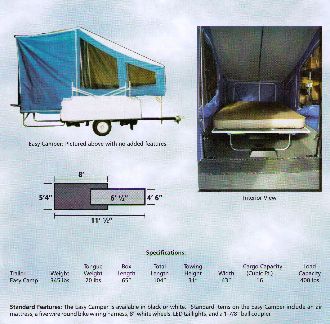 Easy Camper model motorcycle towable pop-up camping trailer. Some items shown are optional.