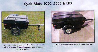 Model CM1000 Cyclemate motorcycle towable cargo trailer