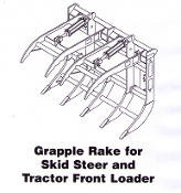 Model SSGR-262 Skid Steer mount grapple rake, 62 inches wide
