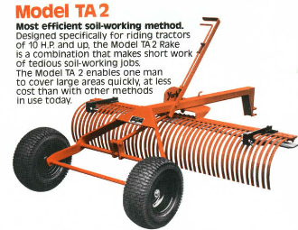 Model 2214B TA2 Series York Landscape Rake, 4 Ft. wide, with 1 7/8 inch ball hitch connector instead of standard pin hitch