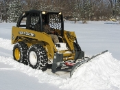 Model WOSBS-2790A heavy duty snow blade 7.5 ft. wide, for mounting on skid loaders with universal quick attach, unit has MANUAL ANGLE, 27 inch tall moldboard, wt. is 575 lbs.