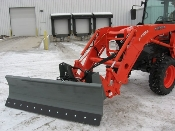 Model WOSBFL-2160 snow blade 5 ft. wide for mounting on loaders on compact tractors 40 hp or less. Plow requires optional mounting brackets to mount to loader arms.