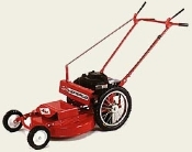 Model WX24SP high wheel mower, single speed self-propelled with differential. Powered by a 8.25 Briggs engine with recoil start. Mower has a 24 inch cutting width.
