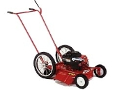 Model 621-2 push type high wheel mower with 22 inch side discharge cutting deck. Powered by 8.25 hp Briggs engine with recoil start. Has 16 inch diameter rear wheels and 8 inch diameter fixed front wheels.