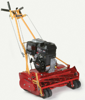 Model 25-8.50GT-7 walk behind, self-propelled reel mower with 7 blade reel, 25 inch cutting width. Powered by a 8.50 Briggs engine with recoil start.