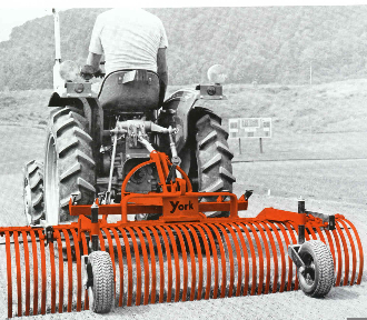 Model 3106 landscape rake 6 ft. wide, mounts on tractors with either category 0 or 1 three point hitches. Caster wheels are OPTIONAL and listed in the index.