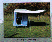 L-shaped awning accessory for Timeout And Easy Camper motorcycle towable camping trailers.