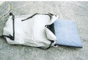 Foam cushion with storage bag for use with Timeout And Easy Camper pop-up motorcycle towable camping trailers.
