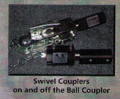 Swivel Coupler For Timeout, Easy Camper, and motorcycle towable cargo trailers with 2 inch square rectangular tubing trailer tongue.