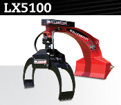 LX5100 three point hitch mounted (cat. 1), hydraulic log grapple, opens from 3 to 38 inches, boom length is 41 inches, weight is 275 lbs.