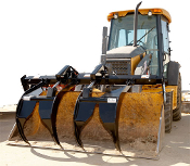 Model 225000 commercial series Add-A-Grapple, bucket mounted brush grapple for large buckets on wheel loaders, telehandlers, and backhoes, for buckets from 80 to 100 inches wide, custom widths avail.