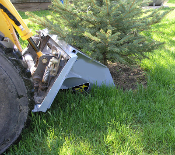 Model X4S skid steer quick attach mount tree scoop