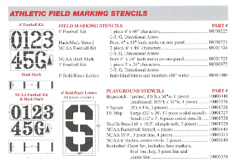 Part No. 10003654 Deluxe NCAA Hash Mark Stencil including in-bound marks