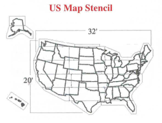 Part No. 10003676 Medium sized U.S. Map Stencil, 21 ft. long x 12 ft. high, comes in 12 pieces, weighs 120 lbs. ships by UPS in several cartons