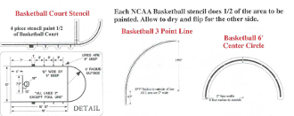 Part No. 10003330 NCAA Basketball Court stencil complete