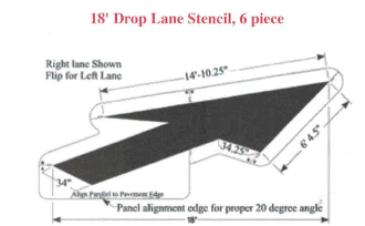 Part No. 10001957 Federal Lane Drop Arrow Stencil