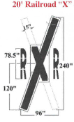 Part No. 10001778 federal spec railroad crossing stencil, 240 inches tall x 96 inches wide.