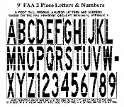 Part No. 10003326 FAA Specification 9 ft. tall stencil available in letters, numbers, dash and arrow symbols