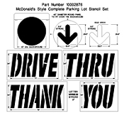 Part No. 10002876 Complete drive through stencil set for McDonalds
