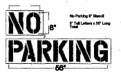 Part No. 10000569 NO PARKING stencil, 8 inch high letters x 56 inches total length