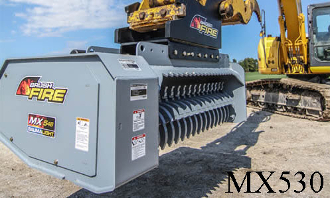 Model WLMX530-C510 excavator mounted brush mulcher, requires 12-22 gpm and requires a case drain