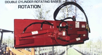 Model EZ-HD1D heavy duty double cylinder rotating base plate grapple system - optional attachments shown