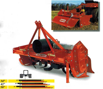 Model T30-142 tractor mounted category 1 pto tiller with 42 inch working width, manufactured by Befco