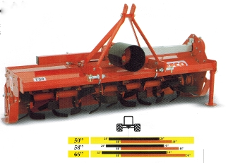Model T50-366 Befco Till-Rite tractor mounted pto powered rotary tiller with side-shift feature for tractors from 25 to 50 hp