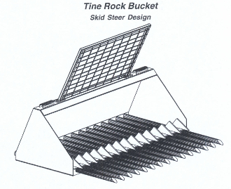 "570 Series Tine Rock Bucket Available in 3 Widths 60"", 72"" and 84"" Standard mount is universal quick attach skid steer"