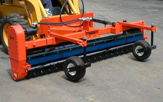 Model YPRSS7-008217 York Power Rake, skid steer mount, hydraulic drive, 7 ft. wide with hydraulic angle