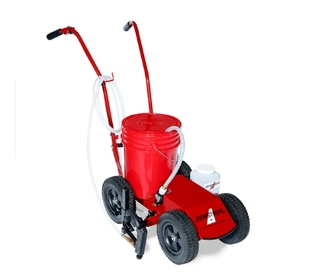 Model 10004484 battery powered rechargable paint striper with spray wand and 10 ft. hose, walk behind