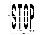 Walmart specification STOP stencil, 4 piece, each letter is 8 ft. tall x 20 inches wide