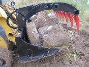 RB58G Skid Steer Mount Rock Bucket With Grapple 58 Inches