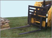 Model WOSSPF-3742 skid steer loader mount (universal quick attach) fork lift style pallet forks and carriage. Unit has 4000 lbs. maximum load capacity, forks slide on rail, and lock w/spring loaded latch.