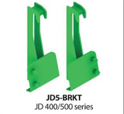 Model JD400/500 weld-on brackets for John Deere 400 and 500 series tractor loaders with JD style quick attach bucket connections.