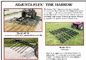 Model AF-10 Adjusta-Flex tow behind tine harrow, 10 ft. wide, also shown is the optional three point lift/transport frame