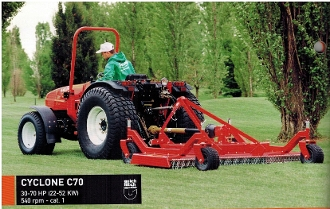 Model C70-110H Rear discharge three spindle grooming mower with hard tires 110 inch cutting width