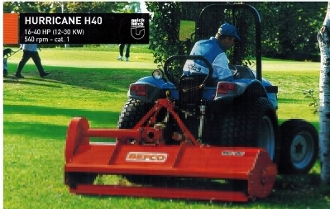 Model H40-072 tractor mounted, pto powered finish cut type flail mower with 72 inch cutting width, offset mounted 6.5 inches to the right, for tractors from 15 to 40 hp.