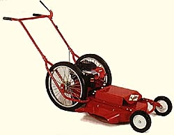 Model 624 Sarlo push type high wheel grass and weed mower with 24 inch wide side discharge cutting deck. Powered by a 8.25 Briggs gas engine with recoil start. Has fixed front wheels.