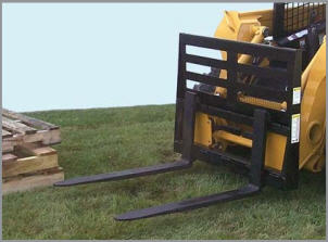 Model WOSSPF-3748 fork lift style pallet fork carriage with univeral skid steer quick attach mount, has 4000 lbs. total load capacity, forks slide on rail and lock in place with spring loaded latch.