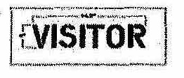 Part No. 10001687 VISITOR Stencil 4 inches high x 17 inches long